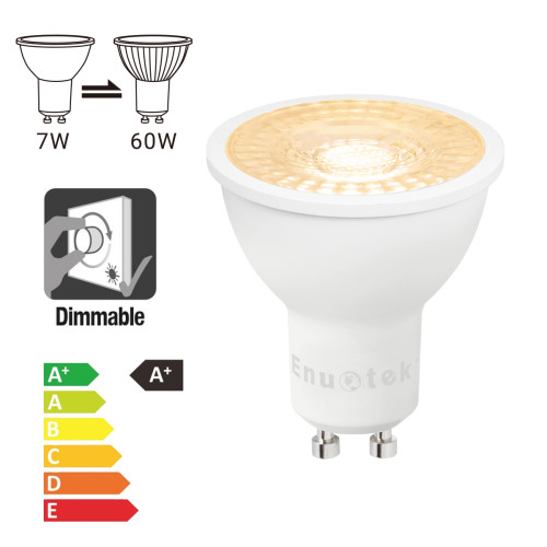 Dimmable 7W 650Lm GU10 LED Spotlight Light Bulbs Warm White 3000K Replace Halogen Lamp Bulb 60W Beam Angle 38° AC185~265V 12 Pack by Enuotek