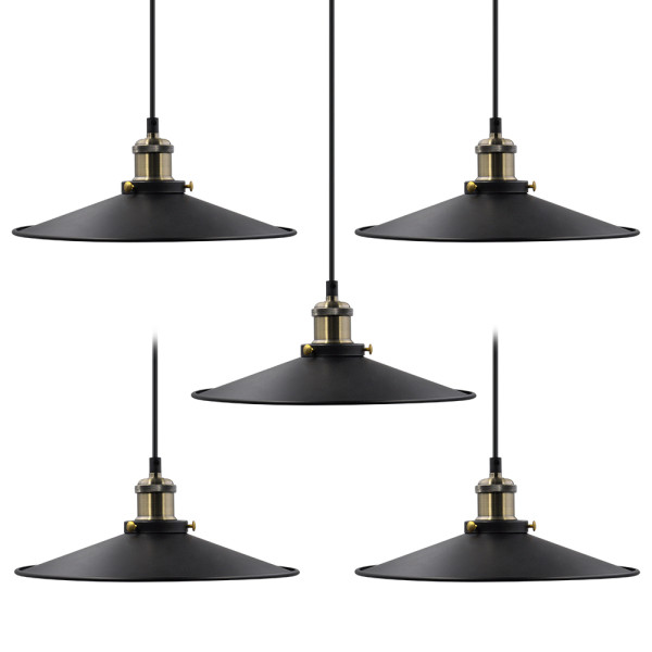 Kitchen Island Dining Room Metal Long Hanging Pendant Ceiling Light Suspension Lamp Fixtures Maximum 2 Meters Suspension Height Adjustable 5 Lamps by Enuotek