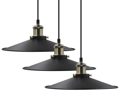 Metal Retro Kitchen Island Drop Pendant Hanging Ceiling Light Suspended Pendant Shade Lamps Maximum 2 Meters Suspension Height Adjustable 3 Lamps by Enuotek