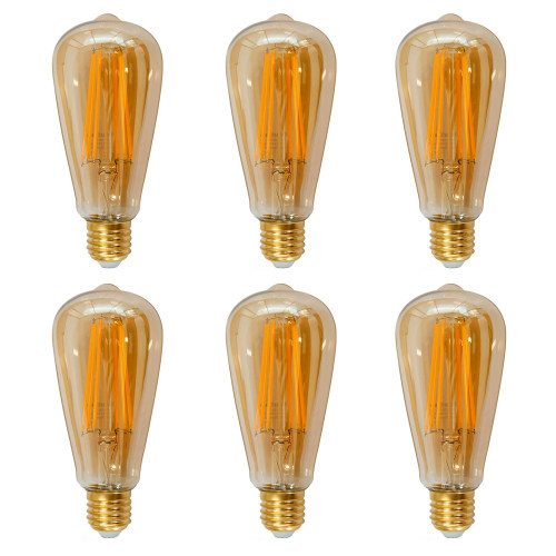 Vintage ST64 LED Filament Edison Style Pendant Hanging Lamp LED Light Bulbs Warm White 2400K with Retro Glass Lamp Shade 6W Replace 60W Incandescent Bulb 6 Pack by Enuotek