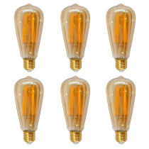 Vintage ST64 ST21 LED Filament Edison Style Pendant Hanging Lamp LED Light Bulb Warm White 2400K with Retro Glass Lamp Shade 6W Replace 60W Incandescent Bulb 6 Pack by Enuotek