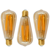 Old Fashioned ST64 ST21 E26 6W LED Long Filament Light Bulb Lamp Vintage LED Light Bulbs with Retro Coated Glass Lamp Shade Replace 60W Incandescent Light Bulb 3 Pack by Enuotek