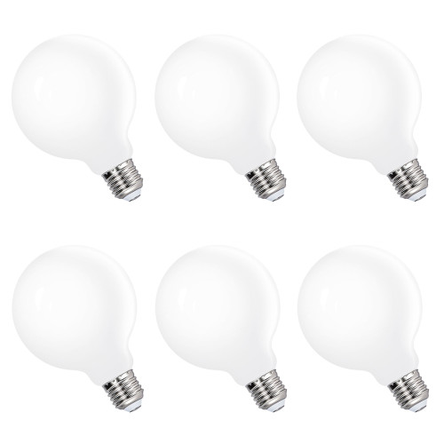 G95 LED Big Globe Glass Light Bulbs Edison E27 LED Energy Saving Lamps 6W Cool White 5000K Omnidirectional Lighting Replace 60W Incandescent Lamps 6 Pack by Enuotek