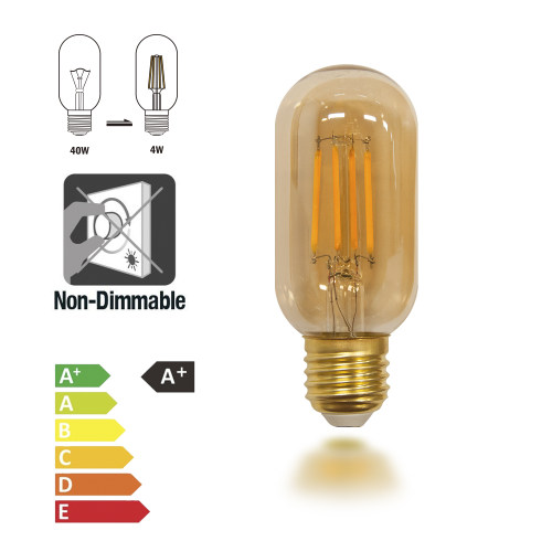 Old Fashioned Edison T45 E27 4W LED Filament Light Bulb Lamp Vintage LED Light Bulbs with Retro Coated Glass Lamp Shade Replace 40W Incandescent Light Bulb 4 Pack by Enuotek