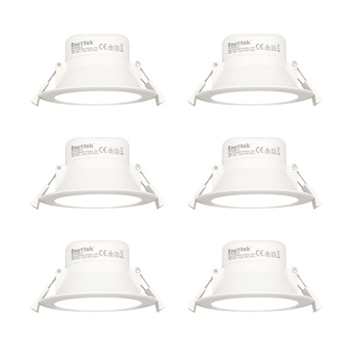 10W LED Ceiling Recessed Spot Downlight Lamps Dampproof IP44 for Bathroom Shower Room Hole Diameter 90-105MM Cool White 5000K AC100~240V 6 Pack by Enuotek