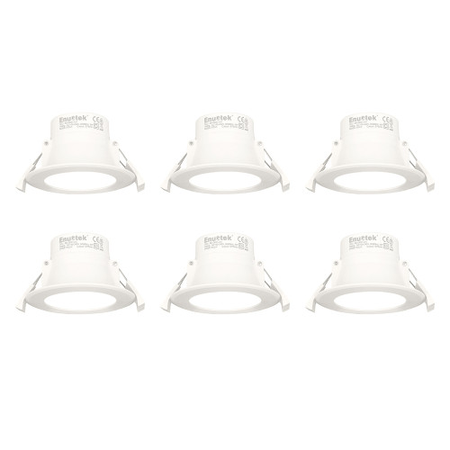 LED Small Recessed Downlights Recessed Ceiling Lights 8W Ceiling Diameter 70-85MM Cool White 5000K 240V IP44 Dampproof for Kitchen Bathroom 6 Pack by Enuotek