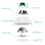 LED Small Recessed Ceiling Downlights 8W Dampproof IP44 for Bathroom Kitchen Living Room Warm White 3000K Hole Diameter 70-85MM AC100~240V 6 Pack by Enuotek