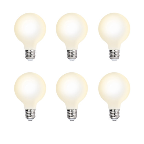G80 6W LED Globe Edison E27 Pendant Lamp Light Bulbs Type G Omnidirectional Lighting Angle 600Lm Warm White 3000K Diameter 80MM Glass Lamp Shade 6 Pack by Enuotek