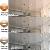 Dimmable 8W Recessed Small LED Downlights Ceiling Lamps IP44 Lighting Colors Selectable 220V-240V Hole Diameter 70-85MM IP44 Dampproof 6 Lamps by Enuotek