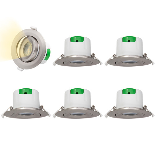 3 Inch Metal Color Angled Recessed LED Spot Ceiling Downlights Spotlights Ceiling Lamps 9W Warm White 3000K Hole Diameter 85-90MM Lighting Angle 60° 6 Lamps by Enuotek