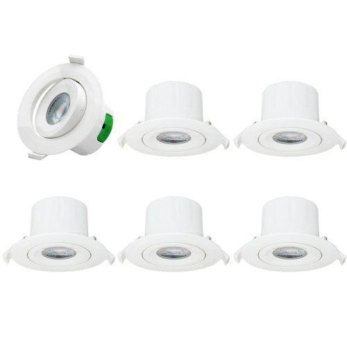 Directional LED Recessed Ceiling Spot Can Downlights Recessed Lamp Fixtures 3 Inch Beam Angle 60º Cool White 5000K AC100~240V Hole Diameter 85-90MM Pack of 6 Lamps by Enuotek