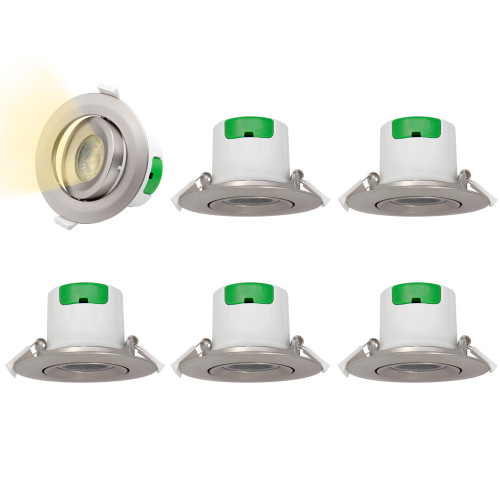 Metal Color Directional LED Recessed Ceiling Spot Lamps Spotlight Downlights 7W Warm White 3000K Ceiling Hole Diameter 70-75MM AC100~240V 6 Lamps by Enuotek