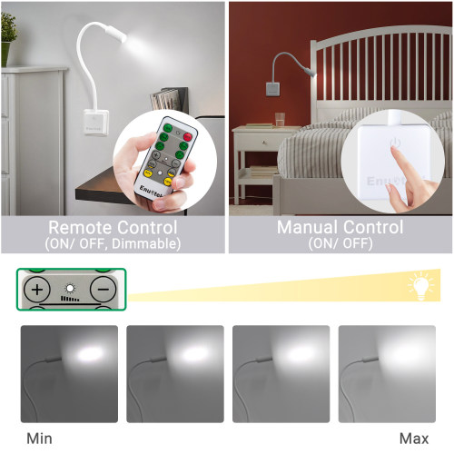 Remote Control Dimmable LED Wall Outlet Night Light Plug and Play LED Bedroom Reading Lamp Natural White Lighting 5000K European Power Plug 1 Lamp and 1 Remote by Enuotek
