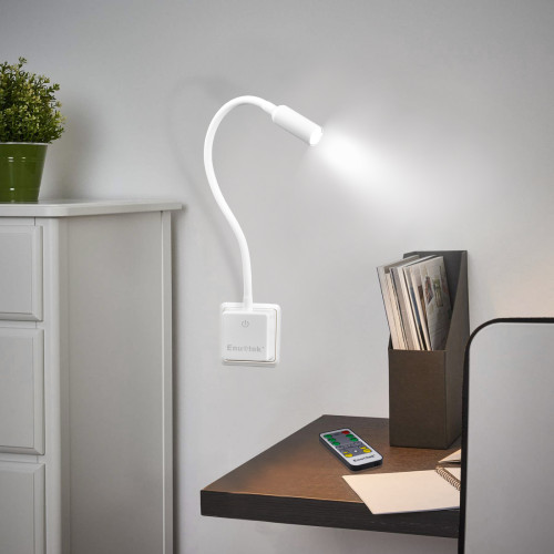 Remote Control Dimmable LED Wall Outlet Night Light Plug and Play LED Bedroom Reading Lamp Natural White Lighting 5000K British Power Plug 1 Lamp and 1 Remote