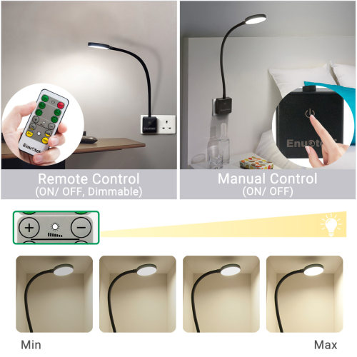 Plug In Remote Control Dimmable LED Wall Night Light Swing Arm LED Bedside Lamp Work Light 4W 350Lm Natural White Lighting 5000K British Power Plug 1 Lamp and 1 Remote by Enuotek