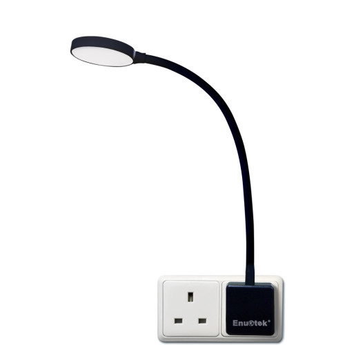 Plug In Dimmable LED Wall Night Light Swing Arm Wall Lamp with British Outlet Power Socket Plug 4W 350Lm Natural White Lighting 5000K Normal Version