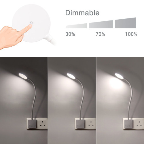 Dimmable Plug In LED Wall Light Swing Arm Bedside Night Lamp with Outlet Power Socket Plug 4W 350Lm Natural White Lighting 5000K Non Remote Controlled Version 1 Lamp by Enuotek