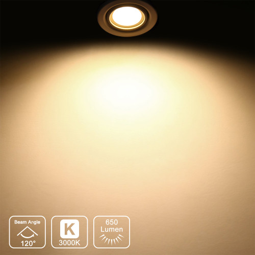 GU10 LED Dimmable Spotlights LED Spot Light Bulbs 7W 650Lm 120° Wide Lighting Angle Warm White 3000K AC220~240V Trailing Edge Dimmable Replace 60W Halogen Lamp 6 Pack