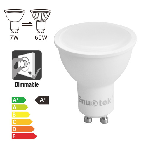 7W 650Lm Dimmable GU10 LED Spotlights LED Spot Light Bulbs 120° Wide Beam Angle Cool White 5000K AC220~240V Trailing Edge Dimmable Replace 60W Halogen Lamp 6 Pack by Enuotek