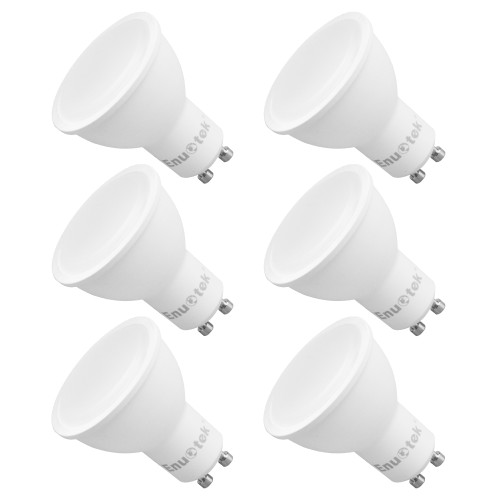 7W 650Lm Dimmable GU10 LED Spotlights LED Spot Light Bulbs 120° Wide Beam Angle Cool White 5000K AC220~240V Trailing Edge Dimmable Replace 60W Halogen Lamp 6 Pack