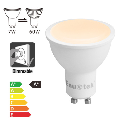Dimmable 7W GU10 LED Spot Light Bulbs Warm White 3000K 120° Wide Lighting Angle AC220~240V 650Lm Brightness Trailing Edge Dimmable Replace 60W Halogen Lamp 12 Pack by Enuotek