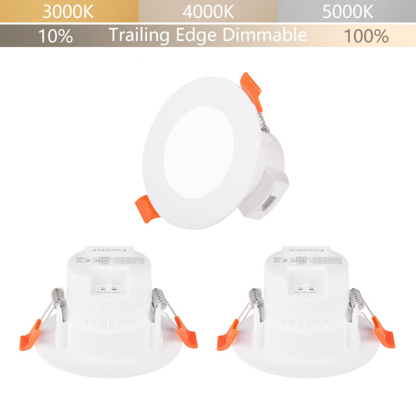 Small Dimmable 5W LED Recessed Down Lights Ceiling Lamps Adjustable CCT 3000K 4000K 5000K IP44 for Kitchen Bathroom Lighting Hole Diameter 65-80MM 3 Lamps by Enuotek