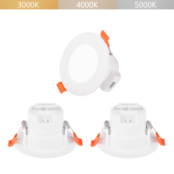 5W Small LED Recessed Ceiling Downlights IP44 for Kitchen Bathroom Ceiling Lighting Color Adjustable 3000K 4000K 5000K Ceiling Hole Small Diameter 65-80MM 3 Lamps by Enuotek