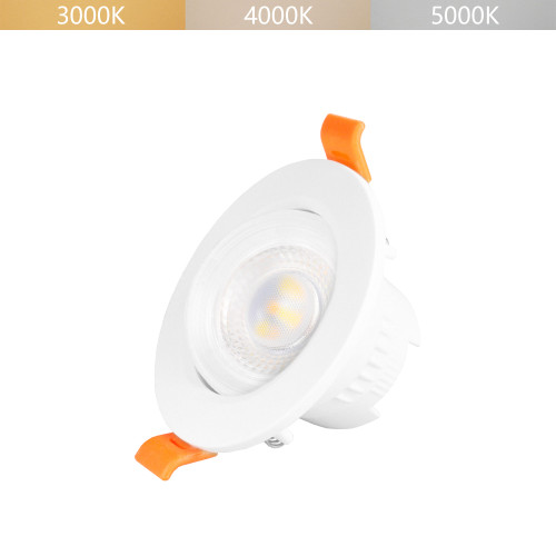 5W Small Angled LED Recessed Spot Lamp Downlight for Sloped Ceiling Warm and Cool White Lighting Adjustable Beam Angle 38° Ceiling Hole Diameter 65-80MM 1 Lamp by Enuotek