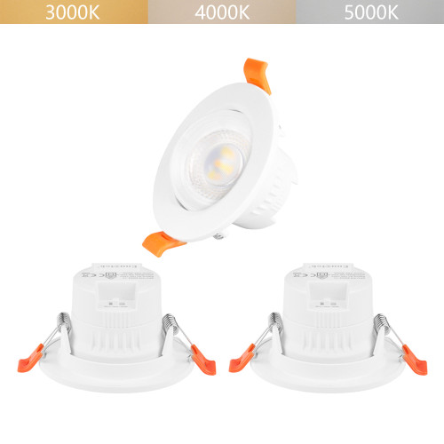 5W Small Angled LED White Recessed Ceiling Spotlights Downlights CCT Adjustable 3000K 4000K 5000K Lighting Angle 38° Ceiling Hole Diameter 65-80MM 3 Lamps by Enuotek