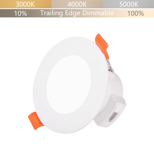 Small Diameter LED Recessed Ceiling Lamp Downlight Trailing Edge Dimmable CCT Adjustable 5W 450Lm IP44 Dampproof for Bathroom Hole Diameter 65-80MM 1 Lamp by Enuotek