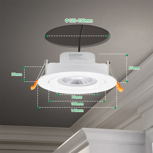 12W Large LED Recessed Ceiling Spot Downlights Ceiling Lamps for Slanted Ceiling Lighting Cool White 5000K 40º Beam Angel Cut Hole Diameter 120-130MM AC100~240V 6 Pack by Enuotek