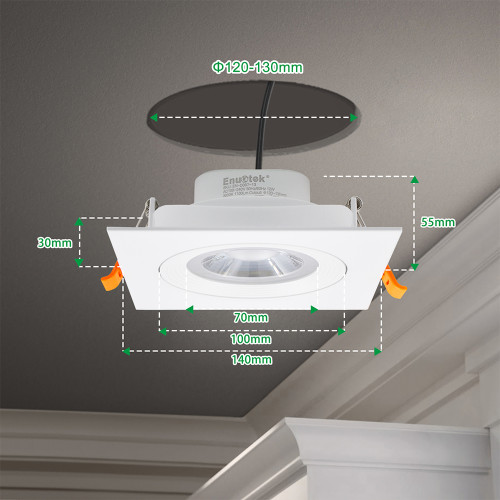 12W White Directional Square LED Recessed Spot Downlights for Large Hole Diamerter 120 -130 MM 1100Lumens Warm White 3000K Lighting Angle 40° for Sloped Ceiling 6 Pack by Enuotek