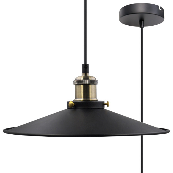 Black Pendant Light Shade Vintage Metal Ceiling Hanging Lamp Shade Pendant Light Fixture for Kitchen Dining Room Restaurant Maximum 2 Meters Suspension Height by Enuotek