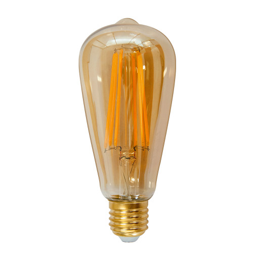 ST64 Vintage Edison LED Long Filament Light Bulb ST21 6W Screw E26 Old Fashioned Decorative LED Light Bulb Retro Coated Glass Lamp Shade 60W Incandescent Lamp Replacement 1 Pack by Enuotek