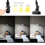 Touch Dimmable Clip On LED Desk Lamp Black LED Table Light Metal LED Reading Light with Flexible Gooseneck Eye Care White Lighting Color