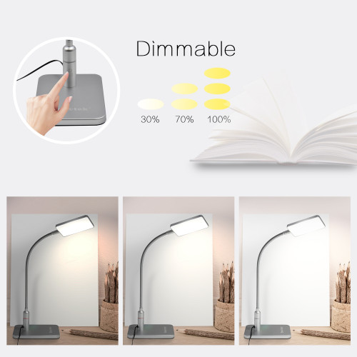 ENUOTEK Touch Dimmable Black LED Desk Lamp Flexible Metal LED Bedside Table Reading Light Energy Saving 5W LED Eye Care Daylight Lighting 5000K