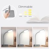 ENUOTEK Touch Dimmable Black LED Desk Lamp Flexible Metal LED Bedside Table Reading Light Energy Saving 5W LED Eye Care Daylight Lighting 5000K