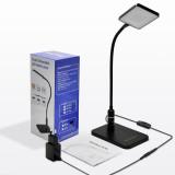 Touch Dimmable Black LED Desk Lamp Flexible Metal LED Table Reading Light Bedside Lamp, Energy Saving 5W LED, Eye Care Daylight Lighting 5000K