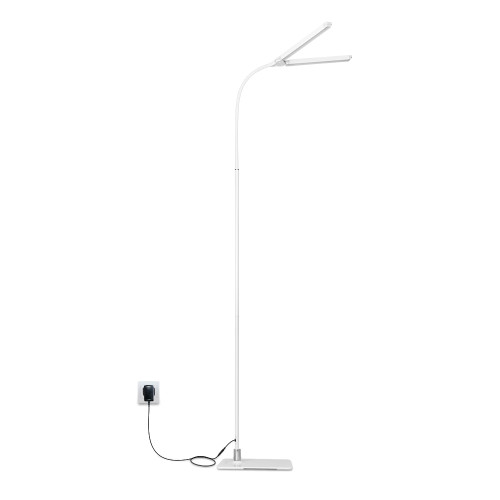 Dimmable LED Flexible White Floor Lamp Standing Reading Light 2X 5W Double LED Lamp Heads Maximum 1000Lm Brightness Daylight 5000K Tall Height 1.5 Meters 1 Lamp by Enuotek