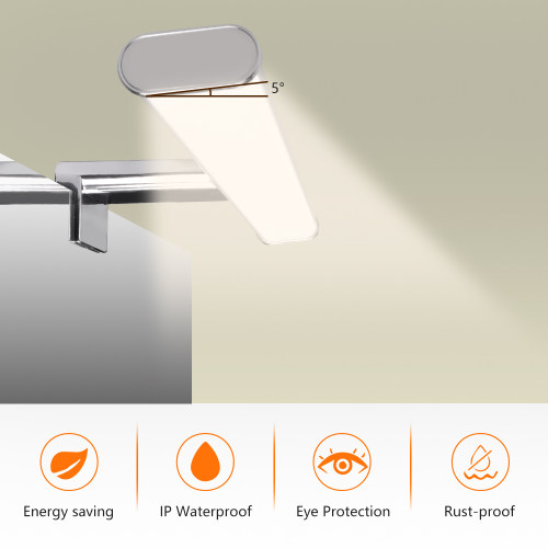 8W LED Bathroom Makeup Over Mirror Light Width 400MM Clip / Above / Wall Mounted Lamp IP44 Dampproof 700Lm Natural White Lighting 4000K Not Dimmable 1 Lamp by Enuotek