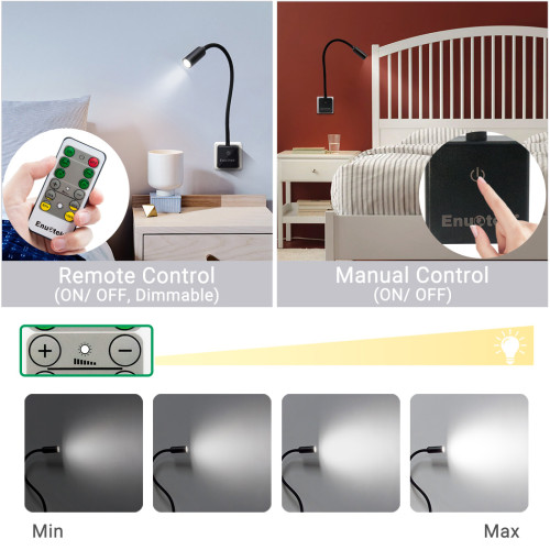 Plug In Remote Control Dimmable 3W LED Spot Reading Lights Workshop Lamps with Power Plug Natural White Lighting 5000K European Power Plug 2 Lamps and 2 Remotes by Enuotek