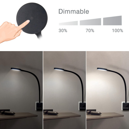 Plug In and Play Touch Dimmable LED Flexible Wall Night Lights Swing Arm Bedside Lamps with British Outlet Power Socket Plug 4W 350Lm Natural White Lighting 5000K 2 Lamps by Enuotek