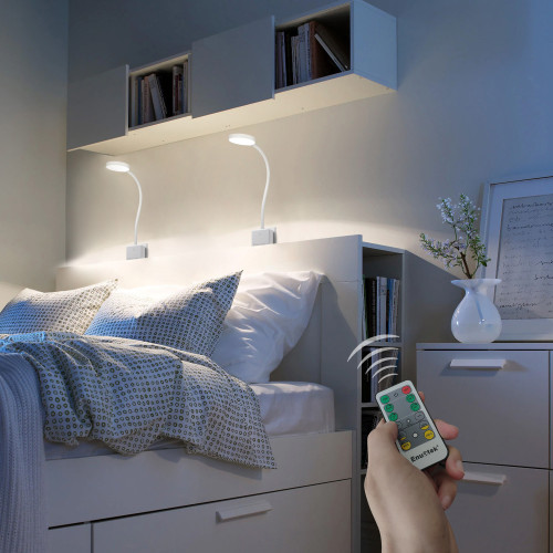Remote Operted Swing Arm Dimmable LED Reading Lamps Work Lights with Power Socket Plug 4W Natural White Lighting 5000K for European Power Socket 2 Lamps and 2 Remotes by Enuotek