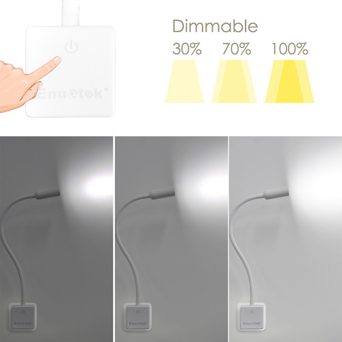 Dimmable 3W LED Plug In Bedside Wall Lamps LED Spot Night Lights with Touch Dimmer Switch Flexible Swing Arm Natural White Lighting 5000K for European Outlet Socket, 2 Lamps by Enuotek