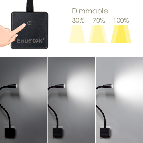 Black Plug In Touch Dimmable 3W LED Wall Spotlights Night Lights Reading Lamps for Bedroom Brightness 280Lm Natural White Lighting 5000K with British Power Plug 2 Lamps by Enuotek