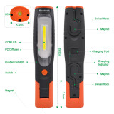 ENUOTEK battery 4W COB LED work light Rechargeable LED flashlight hand lamp inspection lamp, high brightness 400Lm and strong magnets, 2600mAh lithium ion battery