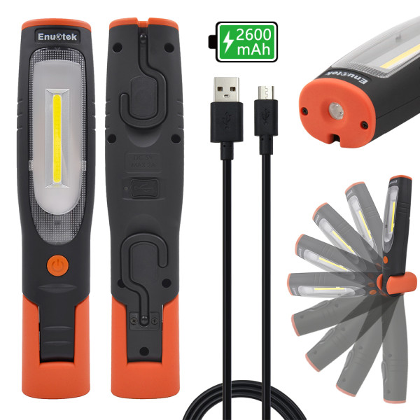 Rechargeable COB LED Work Light Cordless Magnetic LED Mechanics Inspection Torch Lamp Flashlight Front 4W COB LED and Top 3W LED, Magnetic Base and Dual Hooks, Essential Work Job Tool by Enuotek