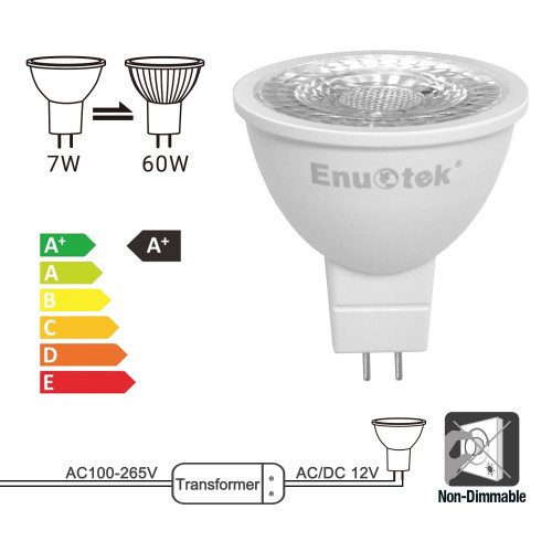7W MR16 LED Spot Light Bulbs Replace 60W Halogen Light Bulb 38° Lighting Cool White 5000K 12V AC DC GU5.3 Bi-Pin Base Not Dimmable for LED Downlights Track Lamp 6 Pack by Enuotek