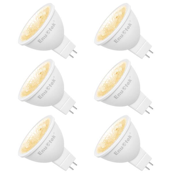 LED MR16 GU5 3 12V Spot Light Bulbs LED Spot Lamps 7W 650Lm 38 Degree Warm White 3000K GU5.3 Bi-Pin Base Not Dimmable Replace 60W Halogen Lamp 6 Pack by Enuotek