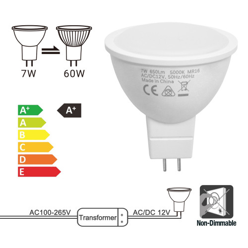 7W MR16 LED Spot Light Bulbs 60W Halogen Light Bulb Replacement 120° Beam Angle Cool White 5000K 12V AC DC GU5.3 Bi-Pin Base Not Dimmable Replace 60W Halogen Lamp 6 Pack by Enuotek